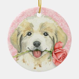 Valentine-Rose große Pyrenäen Keramik Ornament