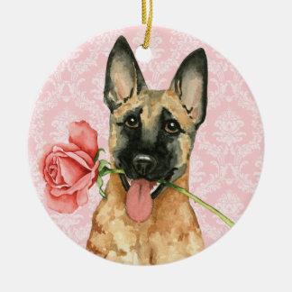 Valentine-Rose Malinois Rundes Keramik Ornament