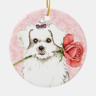 Valentine-Rose maltesisch Rundes Keramik Ornament
