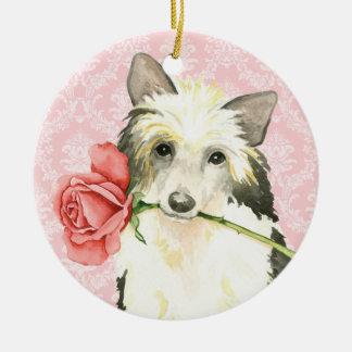 Valentine-Rose Powderpuff Rundes Keramik Ornament