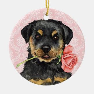 Valentine-Rose Rottweiler Keramik Ornament