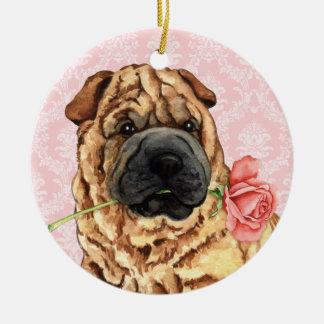 Valentine-Rose Shar-Pei Rundes Keramik Ornament