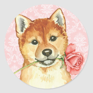 Valentine-Rose Shiba Inu Runder Aufkleber