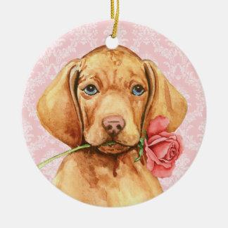 Valentine-Rose Vizsla Keramik Ornament