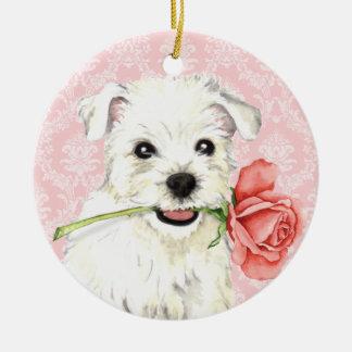 Valentine-Rose Westie Keramik Ornament
