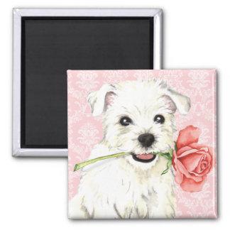 Valentine-Rose Westie Quadratischer Magnet