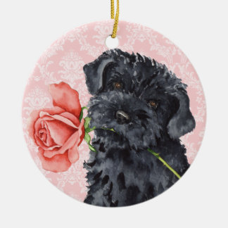Valentine-Rosekerry-Blau-Terrier Rundes Keramik Ornament