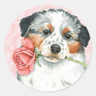 Valentine-Rosen-Australier Runder Aufkleber