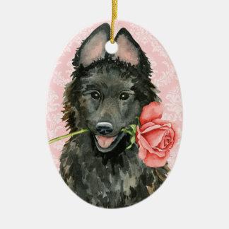 Valentine-Rosen-Belgier-Schäferhund Keramik Ornament