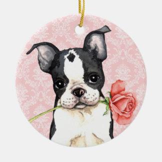 Valentine-Rosen-Boston-Terrier Keramik Ornament