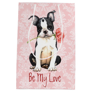 Valentine-Rosen-Boston-Terrier Mittlere Geschenktüte