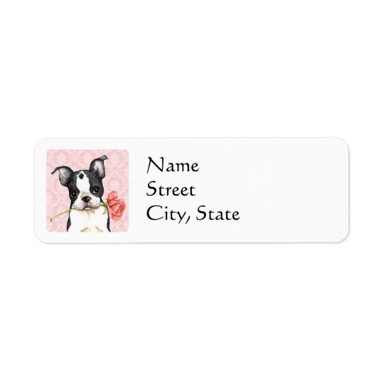 Valentine-Rosen-Boston-Terrier Rücksendeetiketten