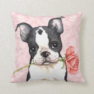 Valentine-Rosen-Boston-Terrier Zierkissen