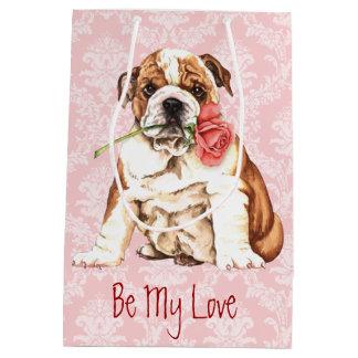 Valentine-Rosen-Bulldogge Mittlere Geschenktüte
