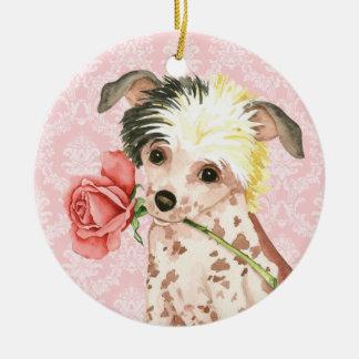 Valentine-Rosen-Chinese Crested Keramik Ornament