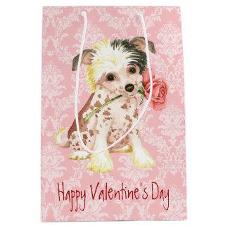 Valentine-Rosen-Chinese Crested Mittlere Geschenktüte