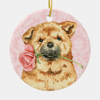 Valentine-Rosen-Chow-Chow Keramik Ornament