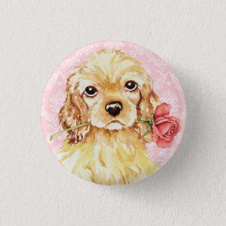Valentine-Rosen-Cockerspaniel Runder Button 3,2 Cm