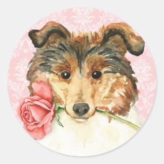 Valentine-Rosen-Collie Runder Aufkleber