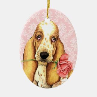 Valentine-Rosen-Dachshund Keramik Ornament
