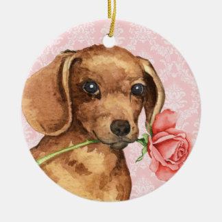 Valentine-Rosen-Dackel Rundes Keramik Ornament