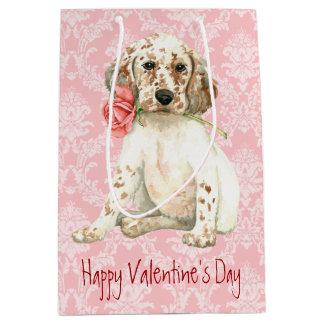 Valentine-Rosen-englischer Setzer Mittlere Geschenktüte
