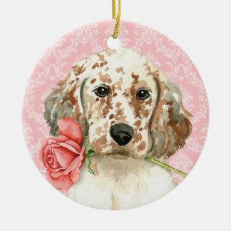 Valentine-Rosen-englischer Setzer Rundes Keramik Ornament