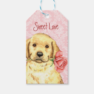 Valentine-Rosen-gelber Labrador Geschenkanhänger