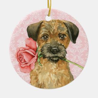 Valentine-Rosen-Grenzterrier Rundes Keramik Ornament