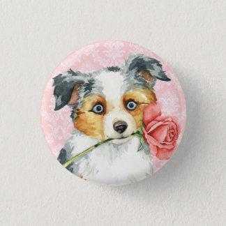 Valentine-Rosen-mini amerikanischer Schäfer Runder Button 2,5 Cm