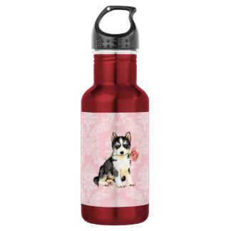 Valentine-Rosen-Schlittenhund Edelstahlflasche