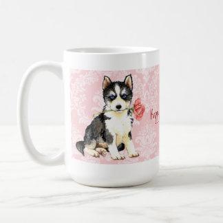 Valentine-Rosen-Schlittenhund Kaffeetasse