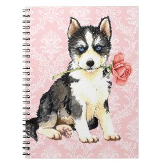 Valentine-Rosen-Schlittenhund Notizblock
