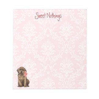 Valentine-Rosen-Schokoladen-Labrador Notizblock