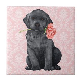 Valentine-Rosen-Schwarz-Labrador Keramikfliese