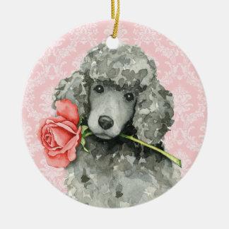 Valentine-Rosen-Standardpudel Rundes Keramik Ornament