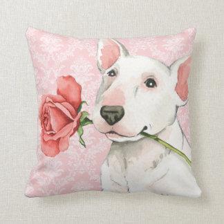 Valentine-Rosen-Stier-Terrier Zierkissen