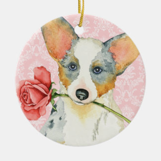 Valentine-Rosen-Wolljacken-WaliserCorgi Keramik Ornament