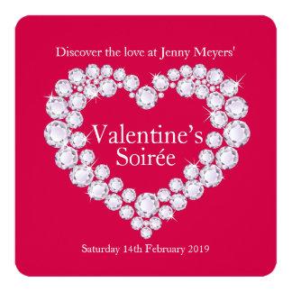 Valentine soirée Diamant-Herz-Party laden ein Karte