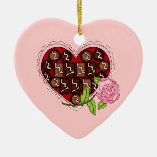 Valentine-Süßigkeits-Herz-Rosa-Rose Keramik Ornament