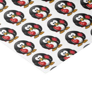 ValentinePenguin mit Schokolade und Rosen-Geschenk Seidenpapier