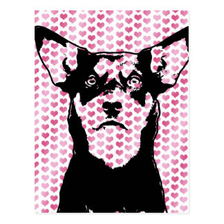 Valentines - australische Kelpie-Silhouette - Postkarte