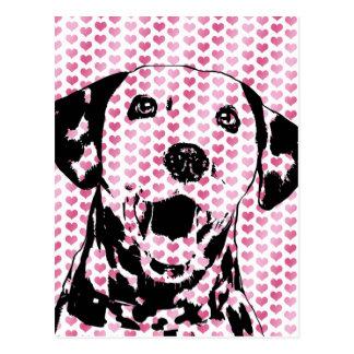 Valentines - dalmatinische HundeSilhouette Postkarte