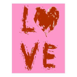 Valentines-Liebe-Herz-Typografiegrunge-Text Postkarte