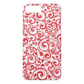 Valentines - rote Herzen und Wirbel nahtlos iPhone 8 Plus/7 Plus Hülle