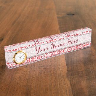 Valentines - rote Herzen und Wirbel nahtlos Schreibtischplakette