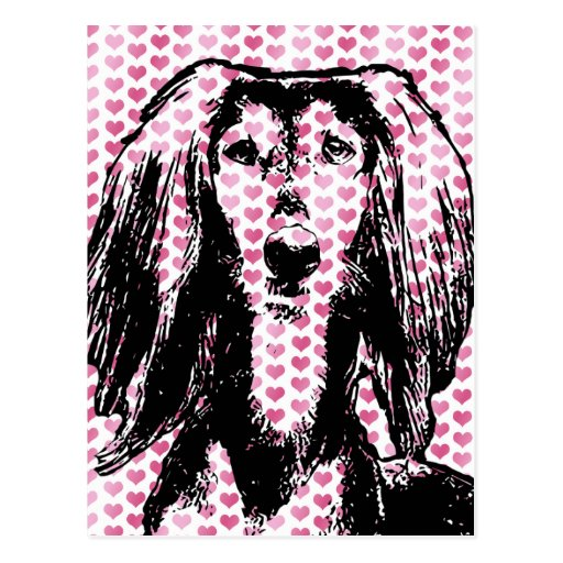 Valentines - Saluki Silhouette Postkarten