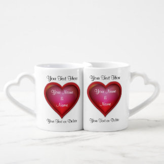 Valentines-Tassen für sie und ihn PERSONALISIERT Partnertasse