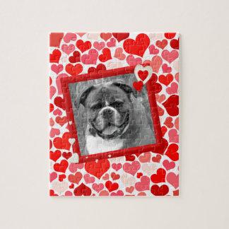 Valentinsgruß-Boxer-Hundeherzen Puzzle