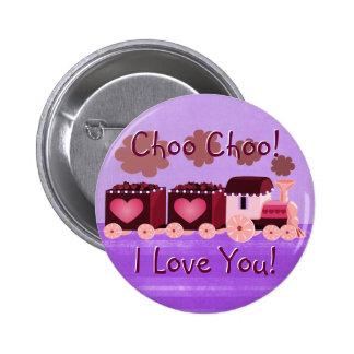 Valentinsgruß Choo Choo Zug-Knopf Button